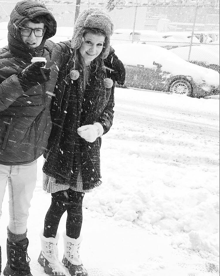 snow josh hugging me