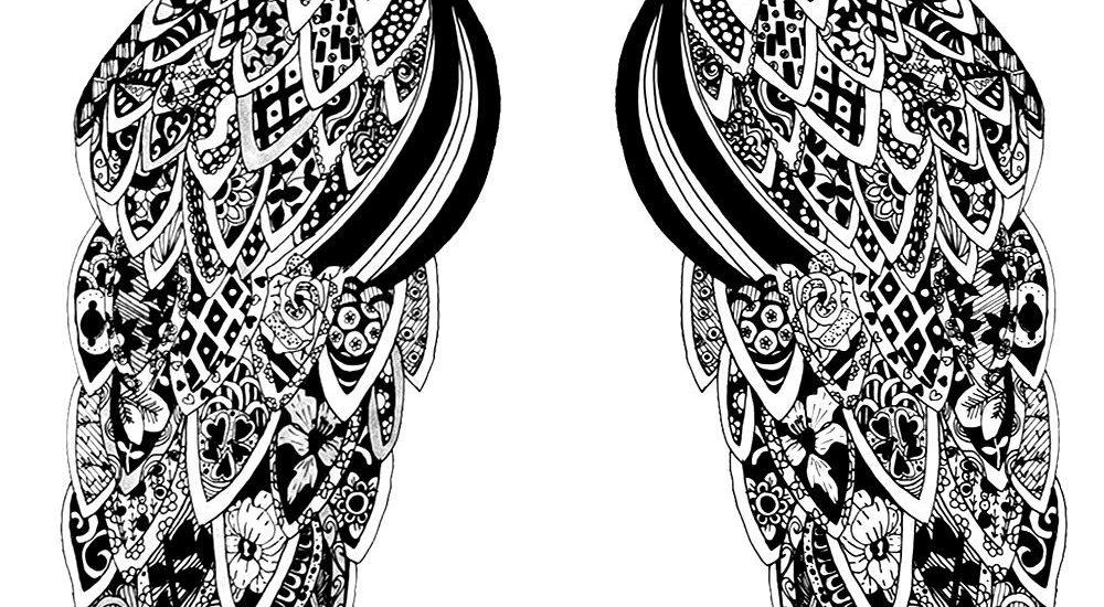 Black and White Artwork Peacocks Birds