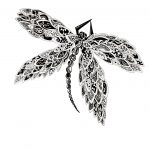 Dragonfly Black and White Artwork