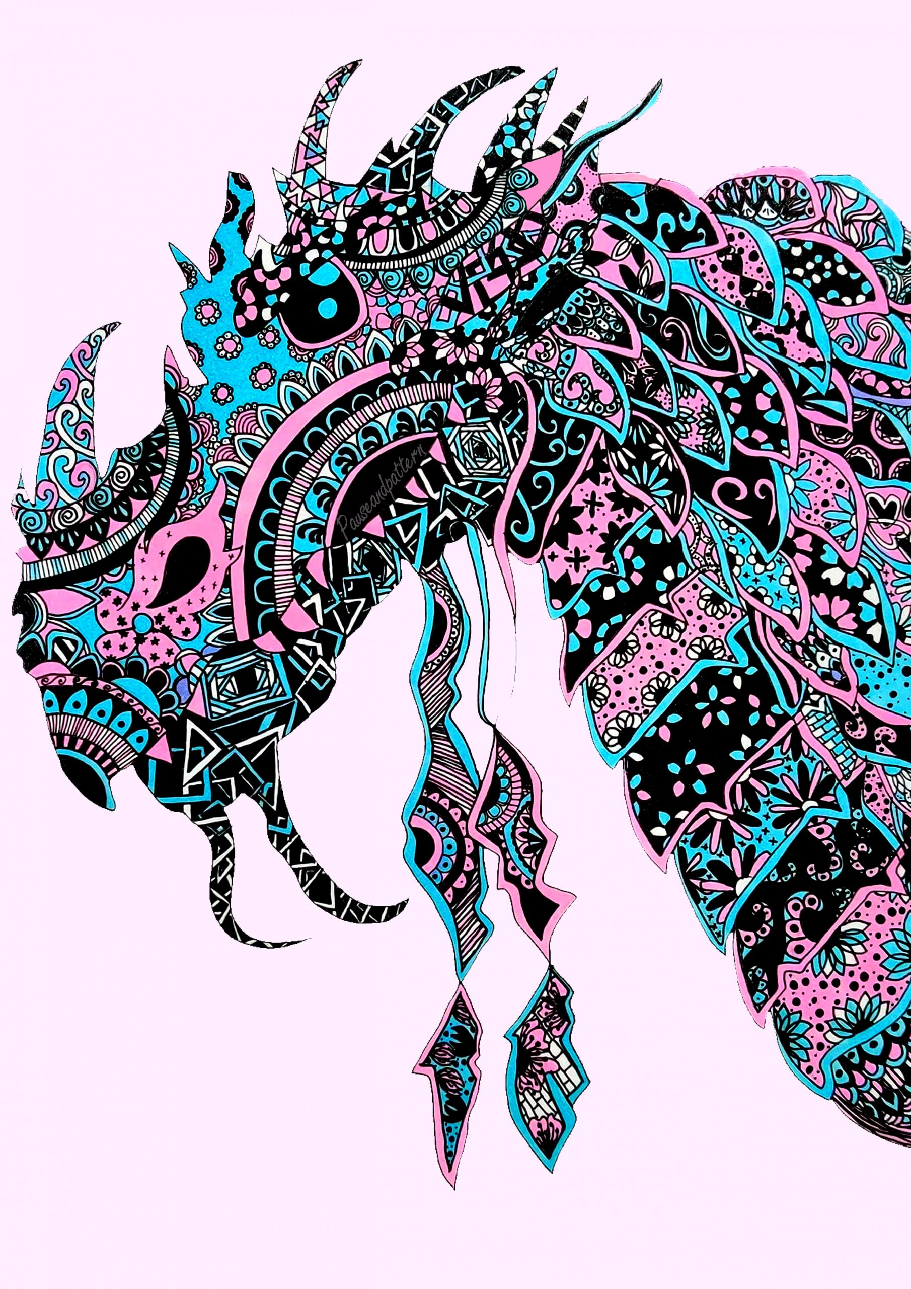 blue and pink dragon head