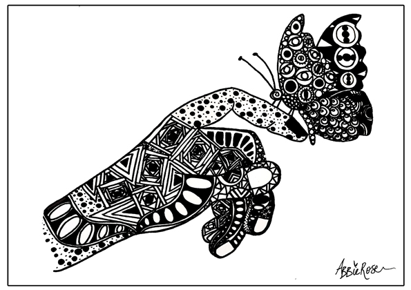 Black and white bespoke Uk Artist Abbie Rose
