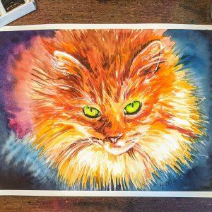 cat watercolour art