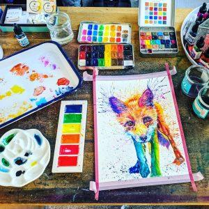 watercolour fox splash art