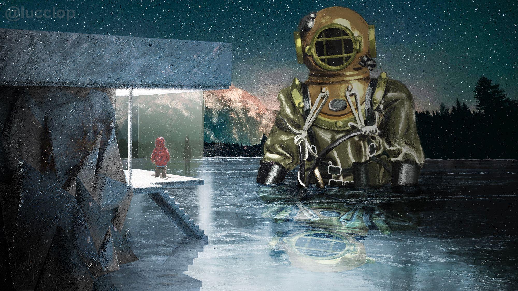Diver Digital Landscape Art